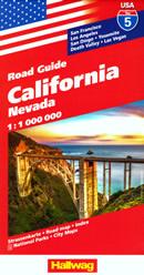 mappa n.5 California con San Francisco, Yosemite, Los Angeles, Diego, Lake Tahoe, Death Valley, Las Vegas, Nevada cartografia aggiornata, dettagliata e facile da leggere + stradale
