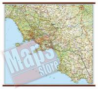 mappa Campania murale con eleganti aste in legno, scrivibile e lavabile cartografia dettagliata ed aggiornata 96 x 86 cm