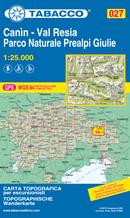 mappa n.027 Canin, Val Resia, Parco Naturale Prealpi Giulie Dogna, Raccolana, Valbruna, Cime del M. Musi, Bovec, Zaga, Uccea, Passo Tanamea, Venzone, Carnia, Resiutta, Moggio Udinese, Chiusaforte, Zuc dal Bor, Jof di Montasio, Sella, Due Pizzi, Plauris con reticolo UTM compatibile sistemi GPS