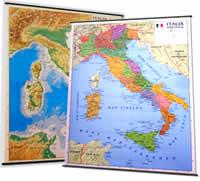 Italia Fisica e Politica (stampata su entrambi i lati) 138 x 98 cm, plastificata con aste