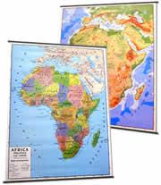 Africa - carta murale plastificata con aste - fisica e politica (stampata fronte-retro) - 102 x 140 cm