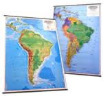 America del Sud - carta murale plastificata con aste - cartografia fisica e politica (stampata fronte/retro) - 102 x 139 cm