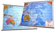 Oceania (Australia, Nuova Zelanda, Isole del Pacifico) - carta murale plastificata, con aste - cartografia fisia e politica (stampata fronte/retro) - 143 x 100 cm