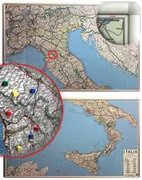 Carta d'Italia Magnetica (montata su pannelli in metallo scrivibili o per applicazione di calamite) + Kit Lavagna Magnetica