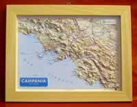 Campania - carta in rilievo con cornice in legno 36x28 cm