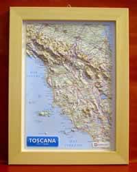 Toscana - carta in rilievo con cornice in legno 28 x 36 cm