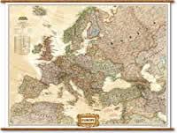 Europa Politica in stile Antico con Stati moderni, plastificata e laminata - 120 x 90 cm