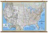 Stati Uniti d' America / USA - carta murale plastificata e laminata, scrivibile e lavabile, con eleganti aste in legno di noce e ganci in acciaio - cartografia politica, aggiornata e molto dettagliata - 180 x 125 cm