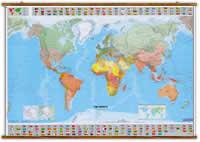 Planisfero Politico - con bandiere, fusi orari, densità demografica, tabelle climatiche e sezioni dei poli - plastificato e con eleganti aste in legno - 144 x 100 cm