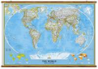 Planisfero Politico, Plastificato e Laminato - cartografia molto dettagliata, con eleganti aste in legno e ganci in acciaio, facile da applicare a parete - 190 x 128 cm - nuova edizione