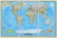 Planisfero Politico in 3 fogli, Grande Formato 285 x 195 cm - nuova edizione