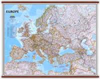 Europa - Politica, Plastificata e Laminata con eleganti aste in legno - 120 x 90 cm