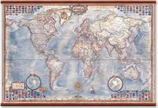 Planisfero in Stile Antico - carta murale, plastificata, laminata, scrivibile e lavabile con eleganti aste in legno e ganci in acciaio - cartografia antichizzata con confini attuali e bandiere degli stati - 136 x 92 cm