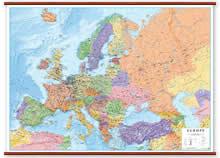 Carta Murale d'Europa - Plastificata e Laminata - Politica/Fisica - con eleganti Aste in Legno - 200x140 cm