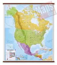 America del Nord (Stati Uniti/USA, Canada, Messico) - carta murale plastificata, laminata, scrivibile e lavabile con aste in legno e ganci in acciaio - cartografia fisica e politica - 100 x 125 cm