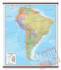 America del Sud - carta murale plastificata, laminata, scrivibile e lavabile, con aste in legno e ganci in acciaio - con cartografia aggiornata fisico-politica - 100 x 125 cm