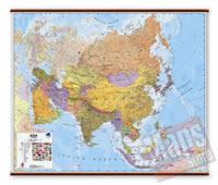 Asia - carta murale plastificata, laminata, scrivibile e lavabile, con aste in legno e ganci in acciaio - con cartografia dettagliatissima fisico-politica - 125 x 100 cm - nuova edizione