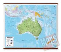 Australia - carta murale plastificata, laminata, scrivibile e lavabile, con aste in legno e ganci in acciaio - con cartografia fisico-politica - 125 x 100 cm