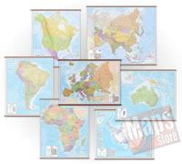Set di 6 mappe murali dei continenti + carta murale d'Europa in omaggio - (100x125cm / 185x135cm)