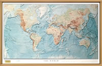 Planisfero fisico in rilievo con fondali degli oceani - con elegante cornice in legno - 100 x 70 cm