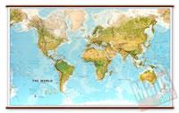 Planisfero Fisico e Ambientale - Plastificato - con eleganti aste in legno e ganci in acciaio - 145 x 90 cm - nuova edizione