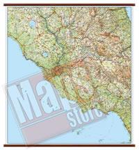 Lazio - carta murale plastificata con eleganti aste in legno, scrivibile e lavabile - cartografia dettagliata ed aggiornata - 96 x 86 cm