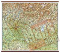 Lombardia - carta murale plastificata con eleganti aste in legno, scrivibile e lavabile - cartografia dettagliata ed aggiornata - 108 x 86 cm