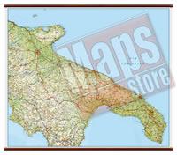 Puglia - carta murale plastificata con eleganti aste in legno, scrivibile e lavabile - cartografia dettagliata ed aggiornata - 108 x 86 cm