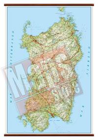 Sardegna - carta murale plastificata con eleganti aste in legno, scrivibile e lavabile - cartografia dettagliata ed aggiornata - 86 x 119 cm