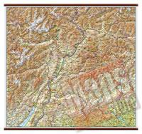 Trentino Alto Adige - carta murale plastificata con eleganti aste in legno, scrivibile e lavabile - cartografia dettagliata ed aggiornata - 96 x 68 cm