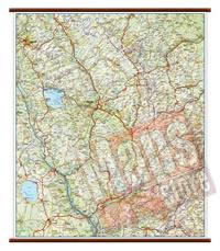 Umbria - carta murale plastificata con eleganti aste in legno, scrivibile e lavabile - cartografia dettagliata ed aggiornata - 60 x 86 cm