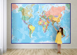 Planisfero fisico-politico per bambini - grande formato, in 2 fogli, dimensione totale 232 x 158 cm