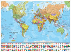 Planisfero - carta murale del mondo con bandiere e cartografia di alta qualità - 70 x 50 cm - edizione 2015