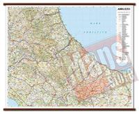 Abruzzo, Molise - carta murale plastificata con eleganti aste in legno, scrivibile e lavabile - cartografia dettagliata ed aggiornata - 96 x 78 cm - edizione 2015
