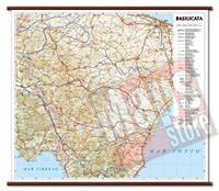 Basilicata - carta murale plastificata con eleganti aste in legno, scrivibile e lavabile - cartografia dettagliata ed aggiornata - 72 x 63 cm - edizione 2015