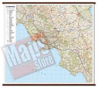 Campania - carta murale plastificata con eleganti aste in legno, scrivibile e lavabile - cartografia dettagliata ed aggiornata - 96 x 86 cm - edizione 2015