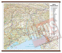 Friuli Venezia Giulia - carta murale plastificata con eleganti aste in legno, scrivibile e lavabile - cartografia dettagliata ed aggiornata - 72 x 63 cm