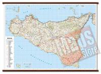 Sicilia - carta murale plastificata con eleganti aste in legno, scrivibile e lavabile - cartografia dettagliata ed aggiornata - 119 x 86 cm - edizione 2015