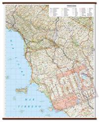 Toscana - carta murale plastificata con eleganti aste in legno, scrivibile e lavabile - cartografia dettagliata ed aggiornata - 86 x 108 cm - edizione 2015