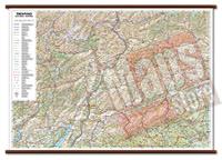 Trentino Alto Adige - carta murale plastificata con eleganti aste in legno, scrivibile e lavabile - cartografia dettagliata ed aggiornata - 96 x 68 cm - edizione 2015