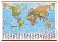 Planisfero fisico e politico con bandiere - Plastificato e Laminato - cartografia molto dettagliata e aggiornata, con eleganti aste in legno e ganci in acciaio - 140 x 105 cm - nuova edizione
