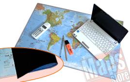 Planisfero Mousepad - sottomano in gomma flessibile da scrivania / carta del mondo aggiornata su tappetino mouse - dim. 66 x 42 cm - lavabile, antiscivolo, impermeabile, antiriflesso - edizione 2017