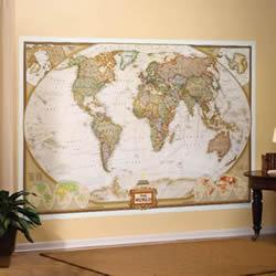 Planisfero in Stile Antico e Politico - in 3 fogli, dimensione totale 295 x 195 cm