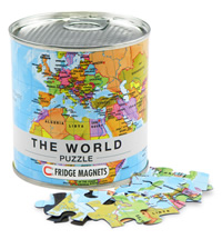 Planisfero Puzzle (da 100 pezzi, magnetici) - il regalo ideale per imparare la geografia in modo divertente - con cartografia aggiornata di alta qualità - 33 x 23 cm