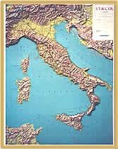 Italia - carta in rilievo (plastico) - con elegante cornice in legno - 65 x 85 cm