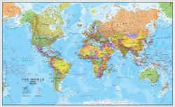 Planisfero Fisico-Politico, Plastificato e Laminato - con cartografia molto dettagliata e aggiornata - 200 x 120 cm