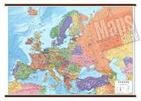 Carta Murale d'Europa - con cartografia politica e fisica, molto dettagliata - plastificata, con eleganti aste in legno e ganci in acciaio - 126 x 92 cm - edizione 2019