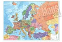 Carta Murale d'Europa - con cartografia politica e fisica, molto dettagliata - plastificata - 120 x 86 cm - edizione 2018