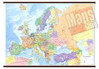 Carta Murale d'Europa - con cartografia politica e fisica - plastificata, con eleganti aste in legno e ganci in acciaio - 102 x 74 cm - edizione 2019