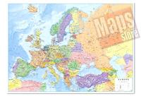 Carta Murale d'Europa - con cartografia politica e fisica - plastificata - 96 x 68 cm - edizione 2019
